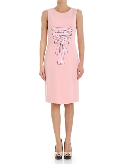 Pink crewneck dress with rubber print MOSCHINO BOUTIQUE Cheap Sale New Styles Cheap Sale Discounts 6h7L0Rms