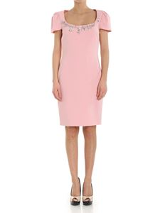 Moschino Boutique - Pink dress with rhinestones and brooches