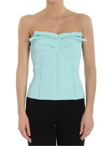 Moschino Boutique - Turquoise embossed top with front bow