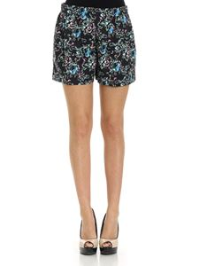 Moschino Boutique - Black embossed shorts in floral pattern