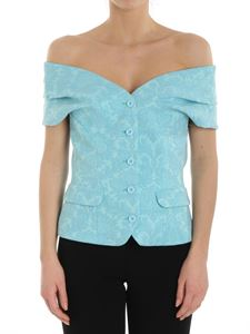 Moschino Boutique - Turquoise jacquard top