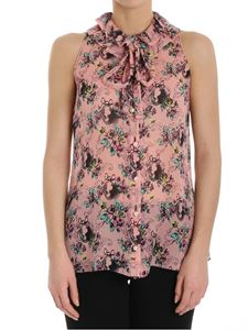 Moschino Boutique - Pink georgette shirt with floral print