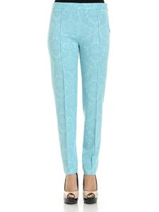 Moschino Boutique - Turquoise jacquard trousers