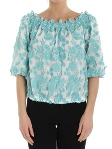 Moschino Boutique - Off-shoulder top with turquoise floral embroidery