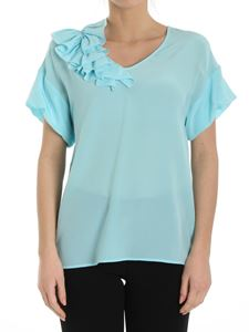 Moschino Boutique - Turquoise silk top with ruffles