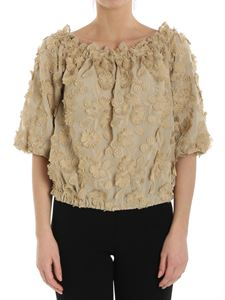 Moschino Boutique - Off-shoulder top with beige floral embroidery