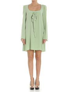 Moschino Boutique - Green flared dress with bows