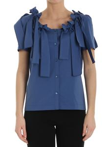 Moschino Boutique - Blue cotton shirt with bows