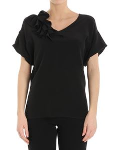 Moschino Boutique - Black silk top with ruffles