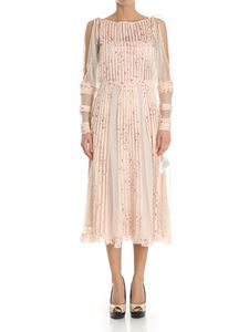 Red Valentino - Pink floral mesh dress
