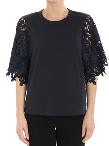 See by Chloé - Blue top with lace sleeves