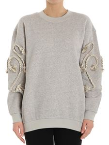 See by Chloé - Gray sweatshirt with rope on the sleeves