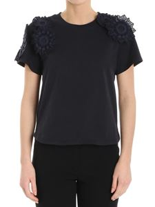 See by Chloé - Blue T-shirt with macramé inserts