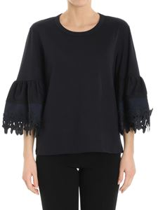 See by Chloé - Blue top with flared sleeves and lace