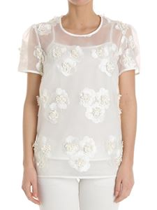 Parosh - White tulle top with floral embroidery