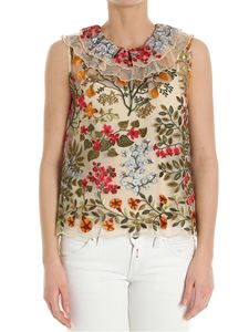 Red Valentino - Multicolor embroidered tulle top