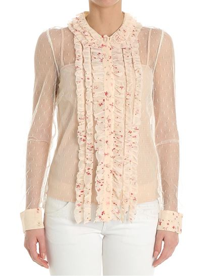 Clearance With Credit Card Pink mesh shirt with ruffles Red Valentino The Cheapest f83QIyUx8W