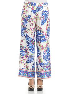 Parosh - White silk trousers with floral print