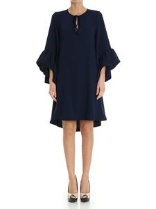 Parosh - Blue dress with flared sleeves