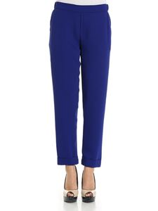 Parosh - Electric blue trousers with turn-ups