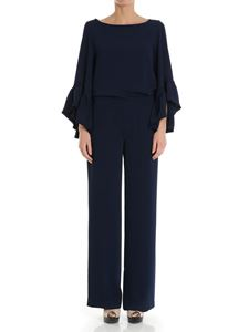 Parosh - Blue jumpsuit with ruffles on the sleeves
