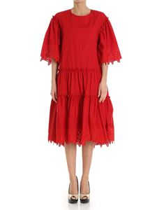 Parosh - Red cotton dress with embroideries