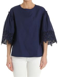 Parosh - Blue top with embroidered sleeves