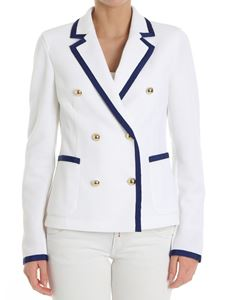 Fay - White cotton jacket with blue inserts