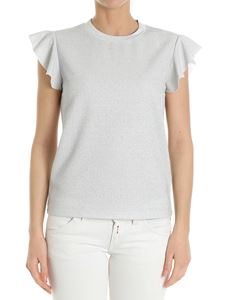 Dondup - Silver top with ruffles on the sleeves