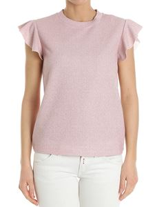 Dondup - Pink lurex top with ruffles on the sleeves