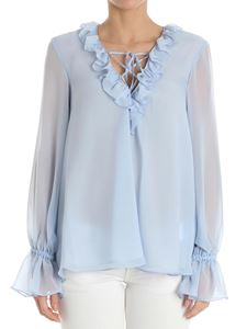 Dondup - Light-blue blouse with ruffles on the neckline