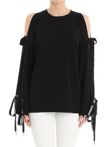 Dondup - Black sweater with opening on the sleeves