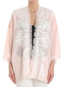 Parosh - Pink cardigan with white embroidery