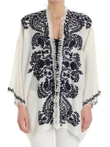 Parosh - Cream cardigan with blue embroidery