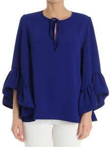 Parosh - Blue top with flared sleeves