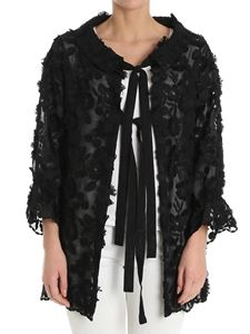 Moschino Boutique - Black blouse with floral embroidery