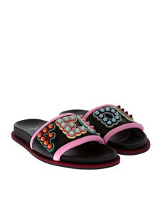Fendi - Black leather slippers with rubber logo