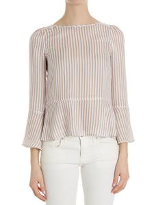 Patrizia Pepe - Striped blouse with decorative buttons on the shoulder
