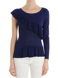 MY TWIN Twinset - Blue two-layer lurex top