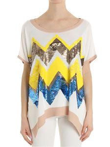 Trussardi Jeans - White oversize sweater with sequins