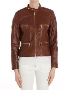 Michael Kors - Brown leather jacket with padded inserts
