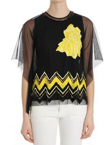 Trussardi Jeans - Black tulle top with yellow sequin embroidery