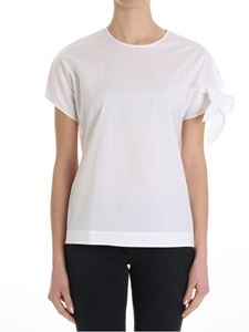 Fay - White top with ribbon on the sleeve