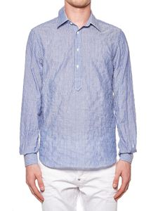 Aspesi - White and light blue striped shirt