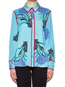 Diane von Fürstenberg - Light blue silk shirt with red edges