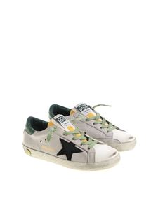 Golden Goose Deluxe Brand - Gray and green Superstar sneakers