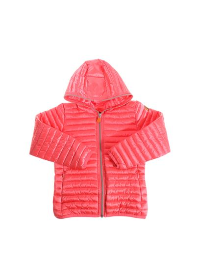 Save the duck - Coral-colored hooded padded jacket