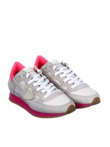 Philippe Model - White and neon-pink Tropez sneakers
