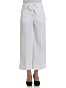 Fay - White trousers with ribbon on the waist