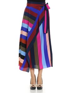Diane von Fürstenberg - Multicolor striped wrap skirt